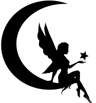 Amazoncom Fairy Moon Silhouette Vinyl Decal StickerCar Truck - Black vinyl decal stickers