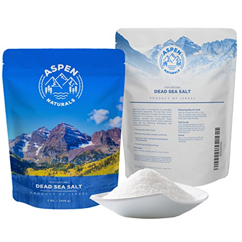 Dead Sea Salt Body Scrub - Enjoy a Pure & Authentic Exfoliating Scrub from Israel for Acne, Eczema, and Psoriasis Treatment, Soothing Sore Muscles, and Relaxation Bath Salts - 2 LB Aspen Naturals