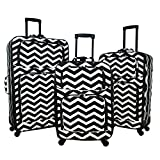 World Traveler 3-Piece Expandable Spinner Luggage Set-Black White Chevron