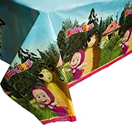 Masha and the Bear Bright Tablecloth for Kids Birthdays Party Supplies with Favorite Heroes Masha y