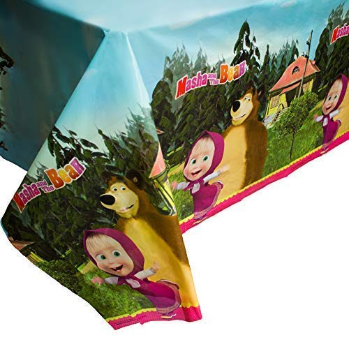 Masha and the Bear Bright Tablecloth for Kids Birthdays Party Supplies with Favorite Heroes Masha y el Oso