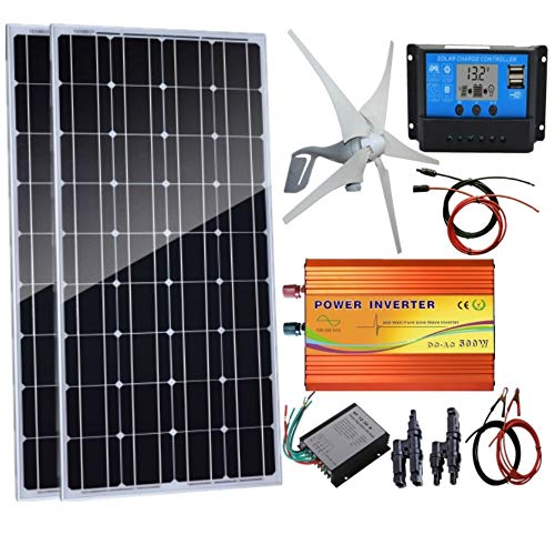 AUECOOR 600 Watts Wind Solar Powered System(Hybrid System Kit): 1pc 12V/24V 400W Wind Turbine Generator + 2pcs 100W Solar Panel + 500W Pure Since Wave Inverter(Peak 1000W)+Accessories ()