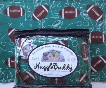 'NUGGLEBUDDY Moist Heat & Aromatherapy Organic Rice Pack for Microwave for Football Fans! FOOTBALL Flannel Fabric Infused with Spearmint Eucalyptus Aromatherapy!