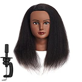 Traininghead 100% Real Hair Mannequin Head Training Head Cosmetology Manikin Practice Head Doll Head With Free Clamp Female (14 inches)