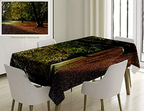 Unique Custom Cotton And Linen Blend Tablecloth Nature Tranquil Tiergarten In Berlin Germany Forest Sightseeing Urban View Autumn Season Green OrangeTablecovers For Rectangle Tables, 78 x 54 Inches