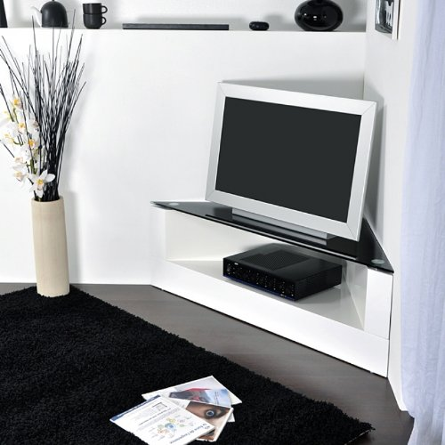 meuble tv d 39 angle blanc laque. Black Bedroom Furniture Sets. Home Design Ideas