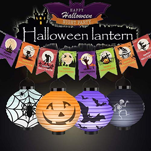 Halloween Pumpkin Lantern 4 Packs,Jack-O-Lanterns LED Hanging Paper Lanterns Pumpkin Spider Bat Skeleton Lantern Lights for Halloween Decoration -