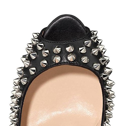 MERUMOTE - Zapatos de tacón de aguja mujer, color negro, talla 38 EU