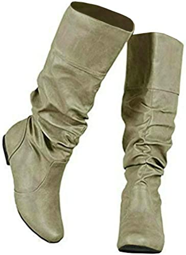 LAICIGO Womens Wide Calf Boots Slouchy