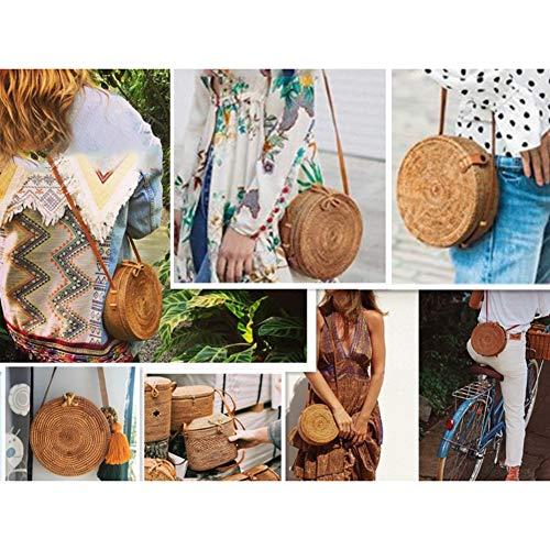 Style rond pour Sac en tissé rotin tissu à bandoulière en main Sac à tissu Sac à pour Bohemia femmes plage en main RHAOB8xwq0