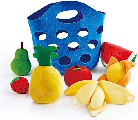 Hape Toddler Fruit Basket |Soft Pretend Food Playset for Kids, Fruit Toy Basket Includes Banana, Apple, Pineapple, Orange and More