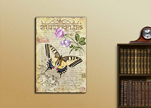 Collage of a Yellow Butterfly Flying Towards Pink and Lavender Flowers Over a Vintage Letter