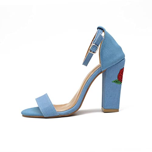 fd115efc9cf4a Longra Blu Scarpe Scamosciate con Tacco Alto Sandali Ricamati con Sandali  con Tacco Alto Sandali da
