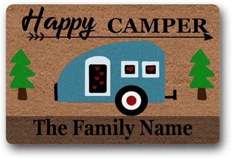 Happy Family Traverler Camper Family Name Personalized Custom Outdoor Indoor Funny Doormat Floor Door Mat Machine Washable Non Slip Mats Bathroom Kitchen Decor Area Rug for Entrance 18X30 inch