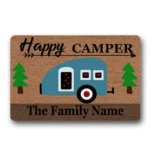 Happy Camper Family Name Personalized Custom Outdoor/Indoor Funny Doormat Floor Door Mat Machine Washable Non Slip Mats Bathroom Kitchen Decor Area Rug for Entrance 18X30 inch (Mat For Door Camper)