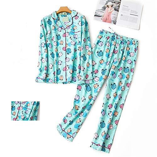 Korea Cute Cartoon Pyjamas Women Pajamas Sets Autumn Brushed Cotton Winter Warm Women Sleepwear NewTZ-2 S