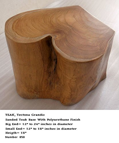 18 inch tall, beautiful sanded & finished teak wood base, great for table bases by Diamond Tropical Hardwoods