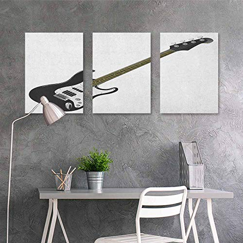 HOMEDD Original Oil Painting,Guitar Bass Four String Rhythm Music Rock and Roll Element Detailed Illustration,Easy Care Oil Painting 3 Panels,16x31inchx3pcs Black White Caramel