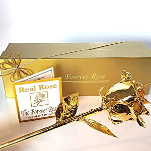 24K Gold Dipped Real Rose w/Gold Gift Box by The Original Forever Rose USA Brand! 2