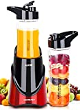 Smoothie Blender with Tritan BPA-Free Travel Bottles (21+14Oz) HOMEASY Personal Size Mixer 300W Single Serve Blender for Juice Shakes Nutritional Drinks Baby Food and More
