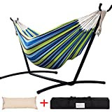 Lazy Daze Hammocks Double Hammock with Space Saving Steel Stand Includes Portable Carrying Case and Head Pillow, 450 Pounds Capacity (Green Stripe)