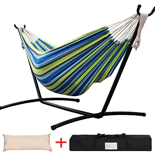 Lazy Daze Hammocks Double Hammock with Space Saving Steel Stand Includes Portable Carrying Case and Head Pillow, 450 Pounds Capacity (Green Stripe) ()