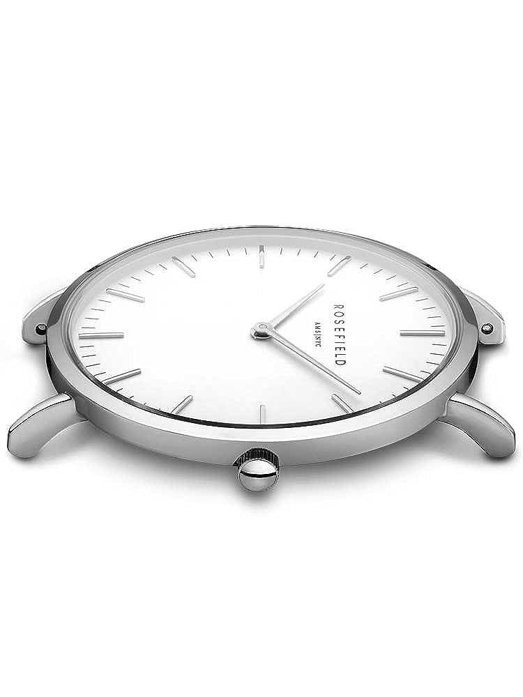 Rosefield The Bowery Cuarzo - Reloj (Reloj de Pulsera, Femenino, Plata, Cuero, Negro, Alrededor): Amazon.es: Relojes