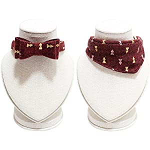 PETFAVORITES Small Dog Costume Collar - Leather Bowtie Kitten Bandana Collar for Halloween - Teacup Yorkie Chihuahua Clothes Outfits Accessories, Adjustable & Handmade (Dark Red Note Bow + Bandana)