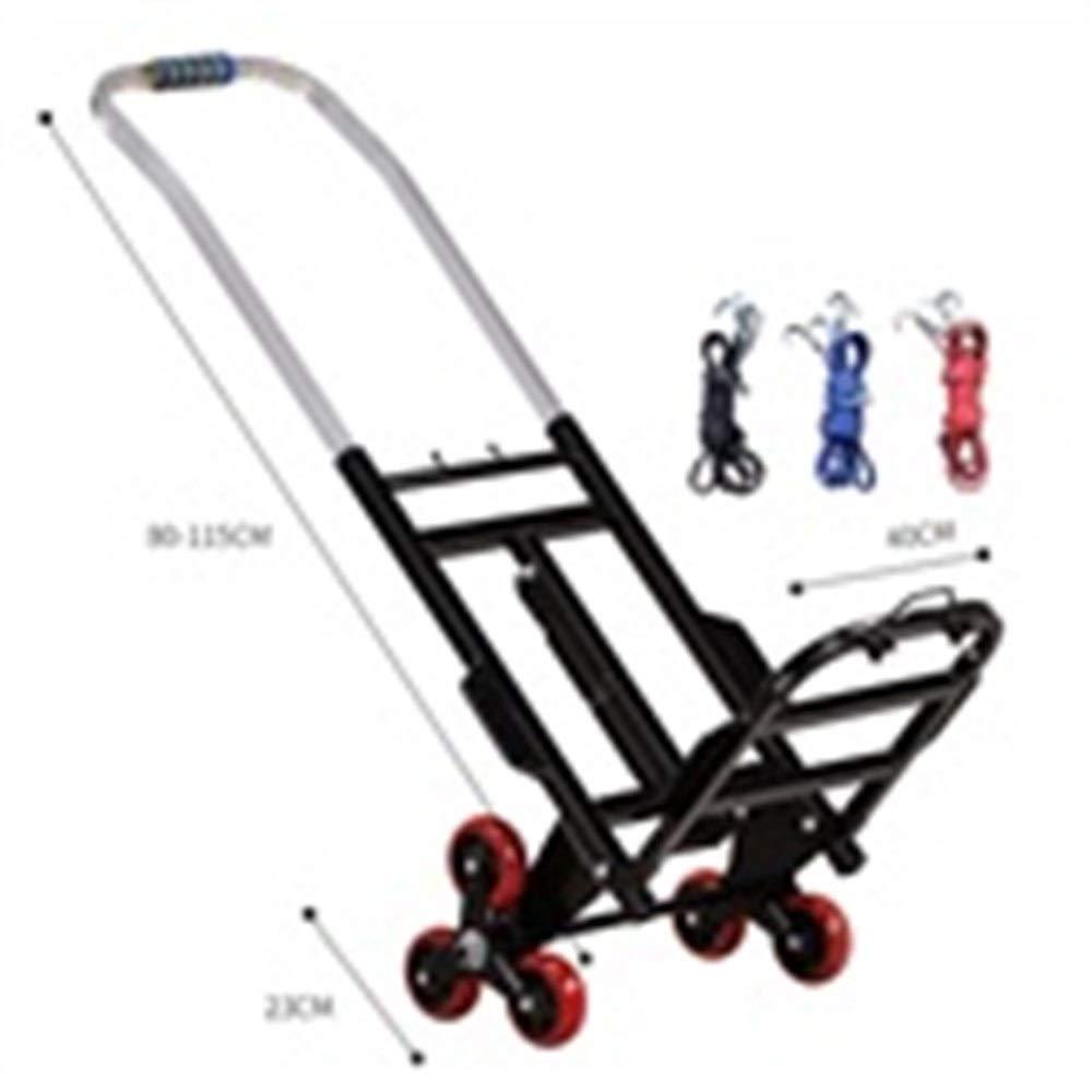 JIANPING Trolley Household Folding Portable Mute Trolley Car Shopping Cart Luggage Cart Truck Trailer Can Bear 100kg Shopping Trolley (Color : A) by JIANPING (Image #2)