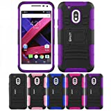 Motorola Moto G4/ G4 Plus Case, HLCT Rugged Shock Proof Dual-Layer PC and Soft Silicone Case With Built-In Kickstand for Motorola Moto G4/ G4 plus (2016) (Purple)