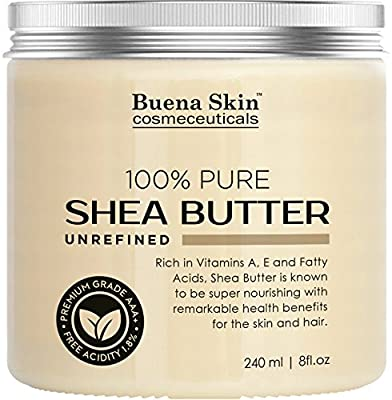 PURE Shea Butter - 100% Natural, Organic Cold-Pressed Raw Unrefined Virgin Premium Grade - Product of Ghana - 8 oz