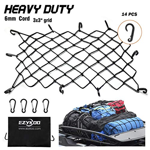 EZYKOO Cargo Nets 47' x 36',6mm Premium Bungee Cord Net,3' x 3' Grid Mesh Cargo Net,Auto Roof Tie-Down Net with 14 Hooks