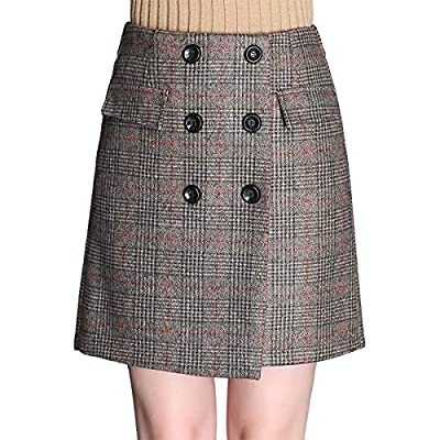 Wincolor Women's Elastic High Waisted Plaid Checked Double Breasted Wool Blend A-line Mini Tartan Skirt