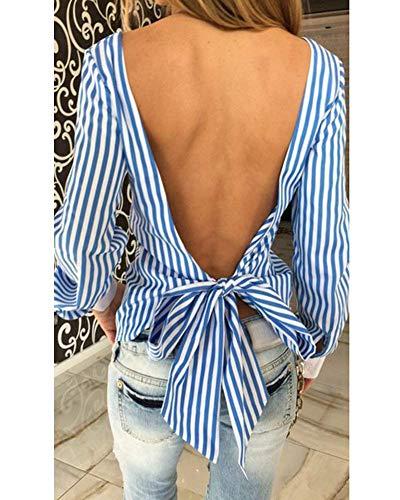 Dos Rond Bowknot Haut Automne Costume Femme Tops Slim lgant Blau Chic Vintage Printemps Shirt Chemise Nu Bandage Fit Longues Col Festival Manches Blouse Pinstripe V Casual Blouse Mode x1fUqn6Ifw