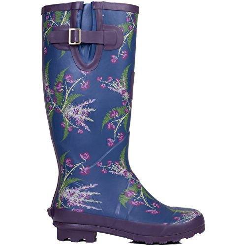 Flower SZ Wellies Blue Boots 4 Festival Adjustable Flat Buckle Spylovebuy Rain w8PSFF