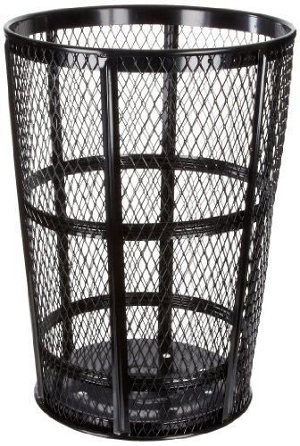 Witt Industries EXP-52BK Steel 48-Gallon Outdoor Waste Receptacle, Round, 23
