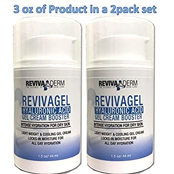 RevivaGel Hyaluronic Acid Gel Cream Booster Advanced Repair Hydration for Dry Skin Light Weight Cooling Skin Care Cream Locks-in Moisture for All Day Healing support 3.0oz
