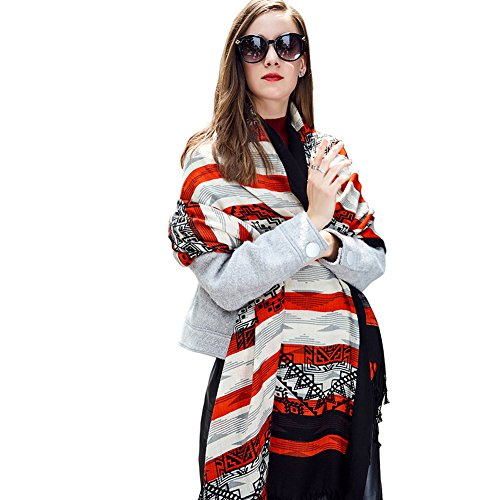 - DANA XU 100% Pure Wool Women Scarf Large Size Pashmina (Black&Red)