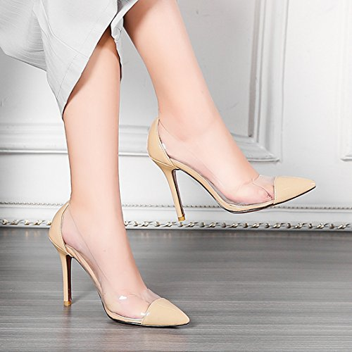 Heels Slip Patent YE High on Stiletto Women Fashion Shoes Beige Leather Shoes Court wYHaaqxX5