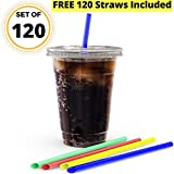 JUMBO Set of 120 16oz Plastic CRYSTAL CLEAR Cups, 120 Flat Lids and 120 Straws - Office/Party Pack to go Disposable Cups Complete Set for Iced Coffee, Bubble Boba, Smoothie, Tea, Cold Drinks etc