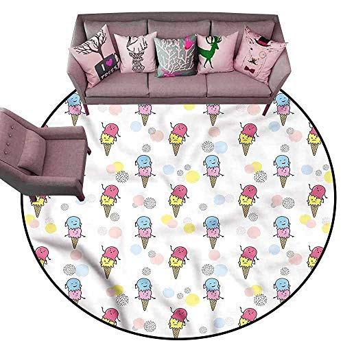 Multi-USE Floor MAT Ice Cream,Cartoon Funny Mascots Diameter 48