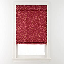 Steward Roman Shade Red Scrollwork 23x64