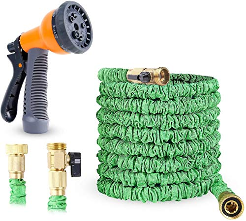 Ohuhu 75ft Garden Hose, 75 Feet Expandable Water Hose with 3/4 Solid Brass Fittings & 8 Function High Pressure Spray Nozzle, Flexible Expanding Hose Extra Strength Fabric