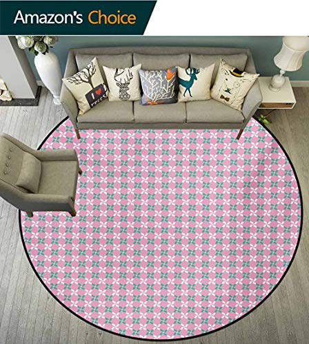 Floral Area Rugs Ring 3D Non-Slip Rug,Spring Flower Motifs in White and Green Chain Pattern On Pink Background Living Room,Bedroom,Desk/Chair Mats,Round,Round-39 Inch Baby Pink Teal White ()