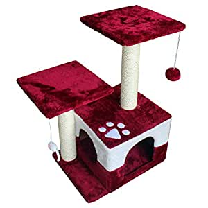 America Phoenix Multi Color Newest Cat Tree Condo Furniture Scratch Post Perch Post Pet House Perch Activity Trees (Red, 30-Inch)