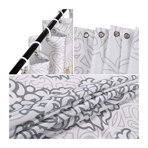 Uphome Tassel Shower Curtain Gray Damask Print Floral Fabric Shower Curtain with Fringe Trims Vintage Boho Chic Bathroom Decor Waterproof and Heavy Duty, 72 x 72 - [Uphome unique designed] 2 rows Tassels ! Its the little details that we loved most. Elegant Damask print bathroom shower curtains made of 100% Polyester fabric adds extra rust-resistant metal grommets and 12 high-quality plastic hooks Without the ROD, can blend with any existing home decor. [Function] Waterproof and heavy-duty,160 GSM,can be used as shower curtain alone, when you take shower the curtain which can prevent it from fluttering, splashing. [Care Instructions] Machine washable in cold water with mild detergent and hang to dry. It could be better cleaned with a quick rinse or wipe after a shower, Low iron; Don't bleach or tumble dry. The Color will stay nice and vibrant for years. - shower-curtains, bathroom-linens, bathroom - 51yqAyFI8uL. SS570  -