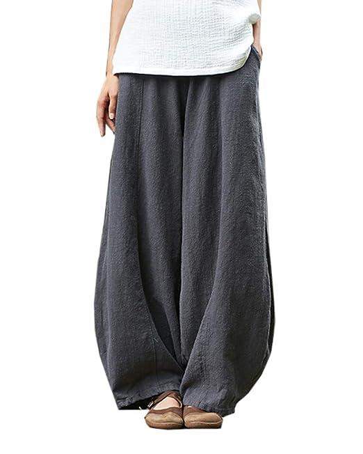Mujer Pantalones Bombachos Harem de Yoga Casual Suelto Aladin Lino Pantalones de Ancho Piernas