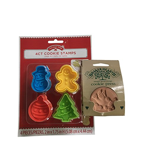 Cookie Press Cutter Set - Mini Cookie Cutters Cookie Stamps – Gingerbread Man , Christmas Tree, Snowman , Ornaments & All Season Wilton Pottery Cookie Stamp (5 Packs)