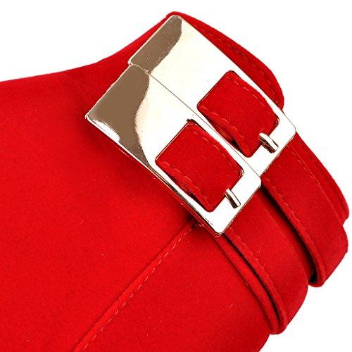 ENMAYER Mujeres Talones de la Manera de Nubuck de la Plataforma de Alta botas de Tobillo Rígido Rojo