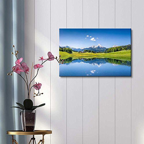 Beautiful Scenery Landscape Idyllic Summer Landscape with Clear Mountain Lake in the Alps Home Deoration Wall Decor
